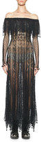 Alexander McQueen Fisherman's Lace Off-Shoulder Gown, Black/White