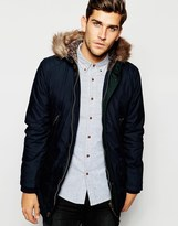 Ted Baker Parka With Faux Fur Hood - Blue