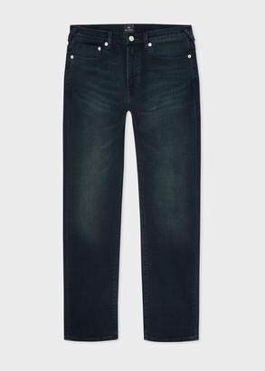 Paul Smith Men's Slim-Fit 11.8oz 'Crosshatch Stretch' Navy Over-Dye Jeans