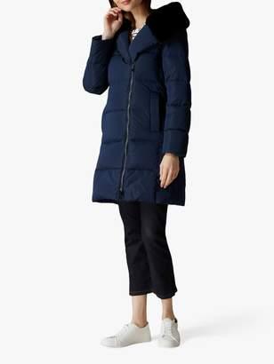 Jaeger Faux Fur Hood Coat, Navy