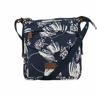Weird Fish Dibley Printed Canvas Cross Body Bag Navy Size ONE