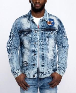 Southpole Men's Tiger Applique Patch Denim Jacket