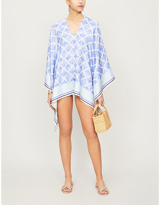 Selfridges Geometric-print silk-twill poncho