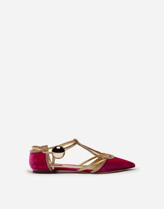 Dolce & Gabbana Velvet Ballet Flats With Decorative Button