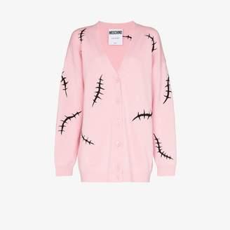 Moschino Womens Pink Stitch Embroidery Wool Cardigan