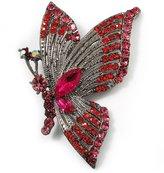 Avalaya Exotic Magenta Diamante Butterfly Brooch (Gun Metal Finish)