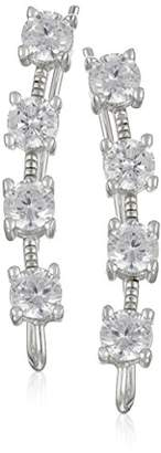 The Ear Pin Sterling White Cubic Zirconia Studded Look Earrings