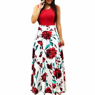 AOGOTO Women's Maxi Floral Print Round Neck Dresses Summer Boho Cocktail Beach Loose Casual Sundress Red
