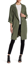 En Creme Light Trench Coat with Roll Up Sleeves