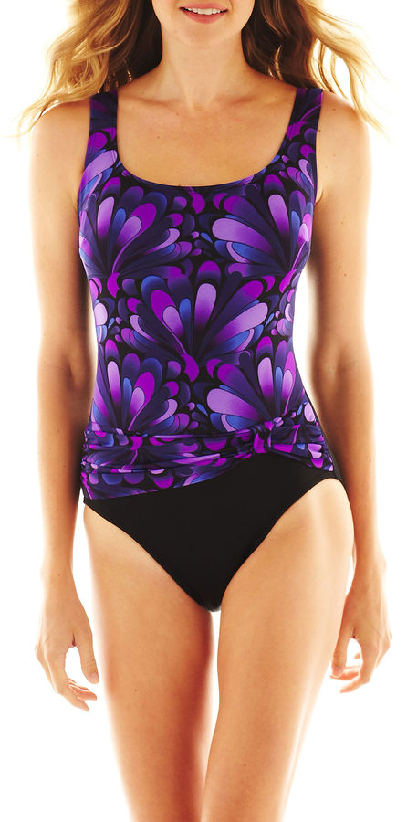 Robby Len By Longitude by Longitude Print Front-Sash 1-Piece Swimsuit