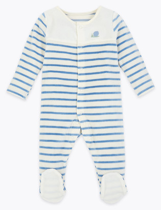 Marks and Spencer Cotton Rich Striped Velour Sleepsuit (7lbs-12 Mths)