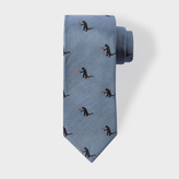 Paul Smith Men's Sky Blue 'Kaiju' Pattern Narrow Silk Tie