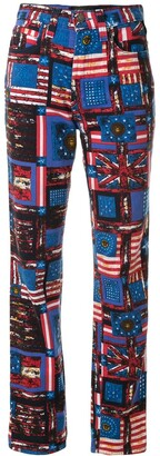 Versace Pre-Owned Flag Print Straight-Leg Jeans