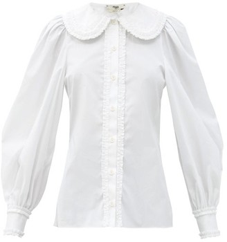 Fendi Ruffled Round-collar Cotton-poplin Blouse - White
