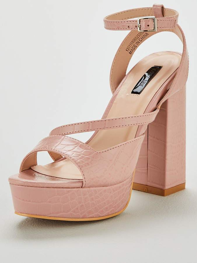 c3941391ad6 Raquel Square Cut Platform Heeled Sandals - Blush
