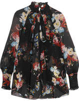 Erdem Isabelle Pussy-bow Floral-print Silk-chiffon Blouse - Black