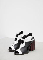 Proenza Schouler white / black / red stripe heel sandal