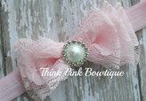 Etsy Lace headband, Baby headband, vintage headband, shabby chic roses headband
