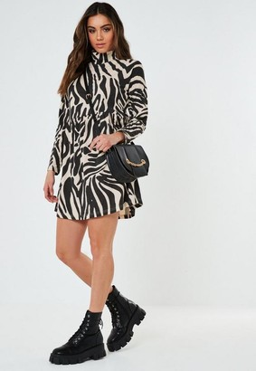 Missguided Stone Zebra Print High Neck Smock Dress