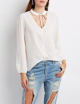 Charlotte Russe Tie-Neck Button-Up Blouse