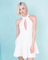 Missy Empire Taina Cream Halter Neck Skater Dress