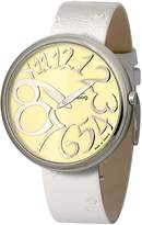 Moog Paris - Ronde Art-deco - Women's Watch with ivory dial, white strap in genuine leather - Interchangeable strap - Made in France - M41671-014