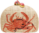 Rafe Ariella Crab Embroidered Raffia Clutch