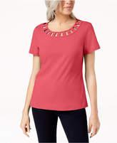 Karen Scott Hardware-Embellished Cutout Cotton T-Shirt, Created for Macy's