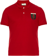 Gucci Snake-crest cotton-blend polo shirt