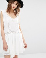 MANGO Drop Hem Embroidered Smock Dress