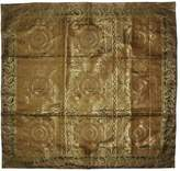 Lal Haveli Ethnic Design Handmade Silk Table Cover 38 x 38 Inch Brown Color