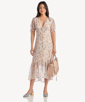 Astr Women's Chandler Dress In Color: Peach Grey Floral Size XS From Sole Society