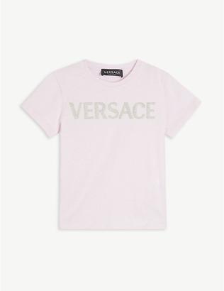 Versace Glitter logo cotton-jersey T-shirt 4-14 years