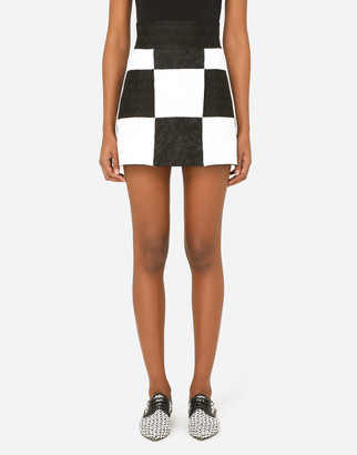 Dolce & Gabbana Damier Patchwork Jacquard Miniskirt