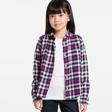 Uniqlo Girls Flannel Check Long Sleeve Shirt