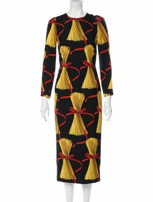 Dolce & Gabbana Spaghetti Print Sheath Dress Black