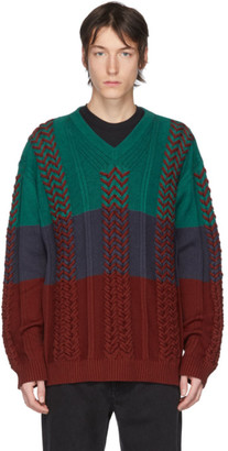 Y/Project Multicolor Braided Knit V-Neck Sweater