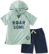 Kids Headquarters Green 'Roar' Hooded Tee & Navy Shorts - Infant Toddler & Boys