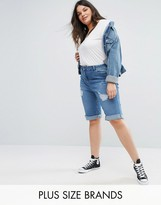 New Look Plus New Look Curve Distressed Knee Shorts