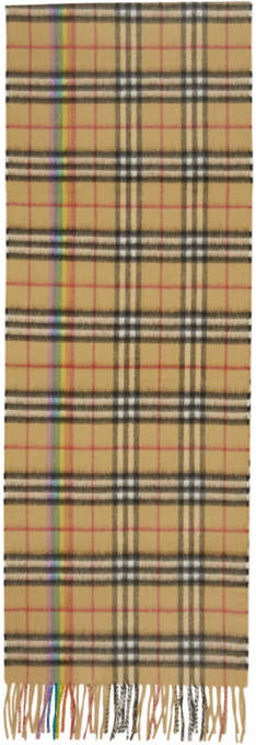 Burberry Yellow Cashmere Rainbow Check Scarf