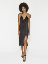 Halston Satin Slip Dress With Chain Piping
