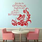 MairGwall Just When the Caterpillar Thought the World Was Over It Became A Butterfly- Inspirational Decal Teen Room Decal Nursery Sticker (Medium,)