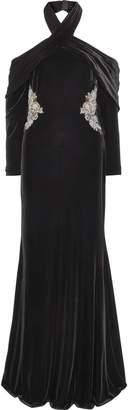 Badgley Mischka Cutout Embellished Velvet Halterneck Gown