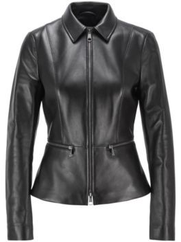 HUGO BOSS Regular-fit jacket in lamb leather with zipped waistline