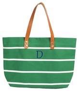 Cathy Women's Monogrammed Green Striped Tote with Leather Handles - Cathy's Concepts