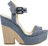 Jimmy Choo Denim Raffia Wedge Sandals
