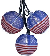 Kurt Adler 10-Light USA FlagLantern Christmas Light Set - Indoor & Outdoor