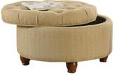HomePop Round Button Upholstered Storage Ottoman