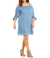 Moa Moa Plus Tie Sleeve Off the Shoulder Dress
