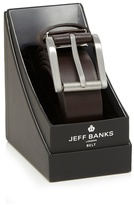 Jeff Banks Brown Leather Silver Buckle Belt
